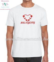 HUNGARY feliratos hímzett férfi póló matyó szív mintával - fehér