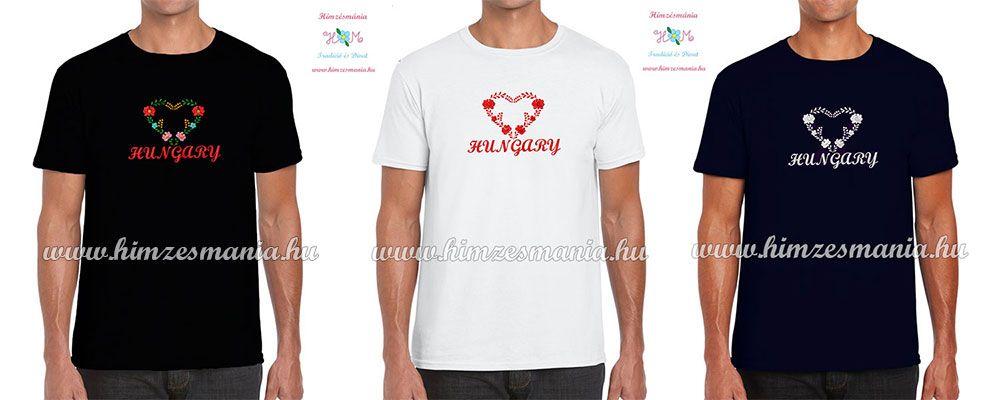 5b1bd42104 HUNGARY feliratos hímzett férfi póló matyó szív mintával - fehér ...