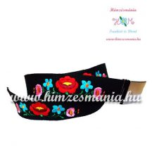 Belt - hungarian machine embroidery - kalocsa motif - black