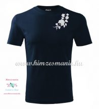 Men's Short Sleeve T-Shirts - hungarian folk embroidery - white Kalocsa motif - navy