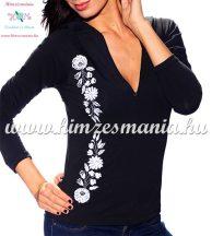 Ladies long sleeve t-shirt half-zip - hungarian white embroidery - Kalocsai pattern - black