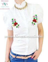 Short-sleeved blouse - hungarian machine embroidered - Kalocsa motif - white
