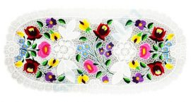 Tablecloth - hungarian folk - hand embroidery - Kalocsa style - 30 x 80 cm