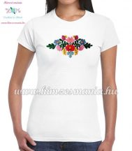 Women's t-shirt - short sleeve - hungarian folk embroidery - handmade - Matyo style - white