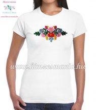 Women's t-shirt - short sleeve - hungarian folk embroidery - handmade - Matyo style - white