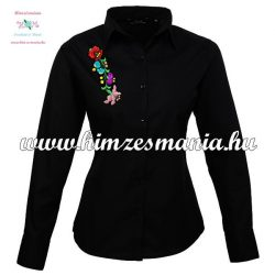 Woman long sleeve shirt - hungarian machine embroidery - Kalocsa style - black
