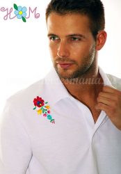 Men's polo shirt - folk machine embroidery - Matyo motif - white - Embroidery Mania