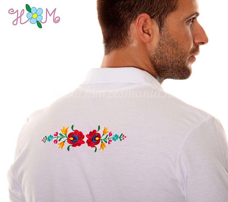 d0b108ad95 Hímzésmánia - matyó mintás elején-hátulján hímzett galléros férfi póló -  fehér