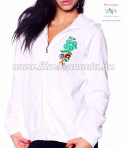 Women' sweatshirt - hand embroidery - hungarian folk motif - white
