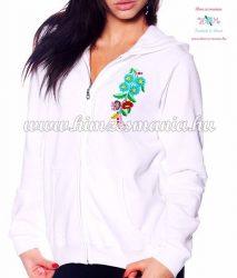Women' sweatshirt - hand embroidery - hungarian folk motif - white