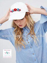 Baseball cap - folk embroidery - handmade - unisex - white