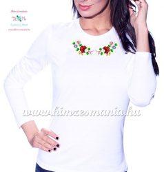 Kalocsai mintás hímzett hosszú ujjú női póló - Hímzésmánia - fehér