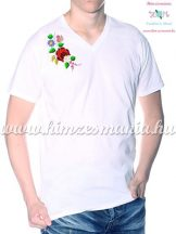 V-neck, short-sleeved T-shirt man - machine embroidery - Kalocsa folk motif - white