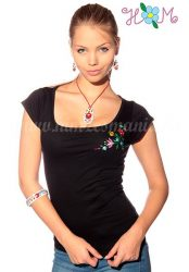 Embroidery Mania - T-shirt Kalocsa folk machine-embroidered - black