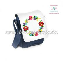 Jeans bag - hand embroidery - hungarian flowers - Kalocsa style - 19 x 17 x 6 cm