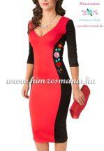 Women dress - hungarian folk hand embroidery - Kalocsai motif - red