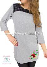 Tunic - hungarian folk machine embroidery - Kalocsa motif - gray