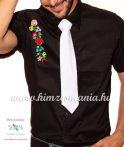 Fekete rövid ujjú férfi ing kalocsai hímzéssel - Hímzésmánia