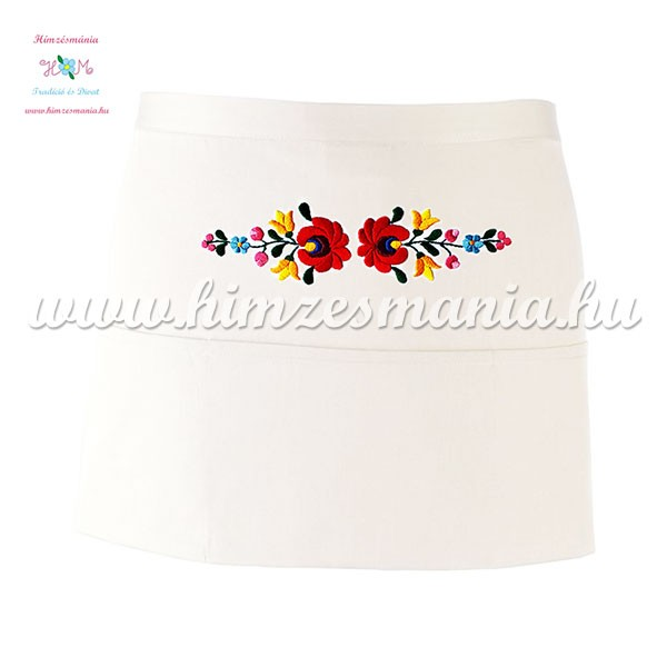 bc3fe4cab9 Short bar apron - 3-pocket - hungarian folk embroidery - hand made - white