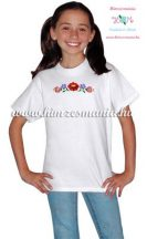 White T-shirt girls - hungarian machine embroidery -  Kalocsa motif