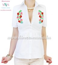 Short-sleeved blouse - hungarian machine embroidered - Matyo motif - white