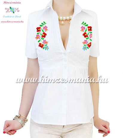 200450b6e7 Short-sleeved blouse - hungarian machine embroidered - Matyo motif - white