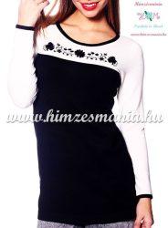 Elegáns női pulóver kalocsai mintával hímezve - Hímzésmánia - fekete-krém