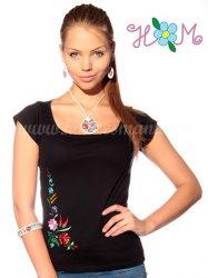 Embroidery Mania - T-shirt hungarian folk machine-embroidered - Kalocsa style - black