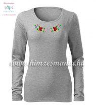 T-shirt woman - long sleeve - folk embroidery - hungarian motif - gray