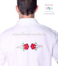 Men's pique polo shirt - folk machine embroidery - Kalocsa style - white - Embroidery Mania