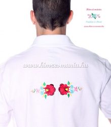 Men's pique polo shirt - folk machine embroidery - Kalocsa style - white - Embroidery Mania