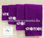 Towel - machine embroidered - Kalocsa pattern - purple