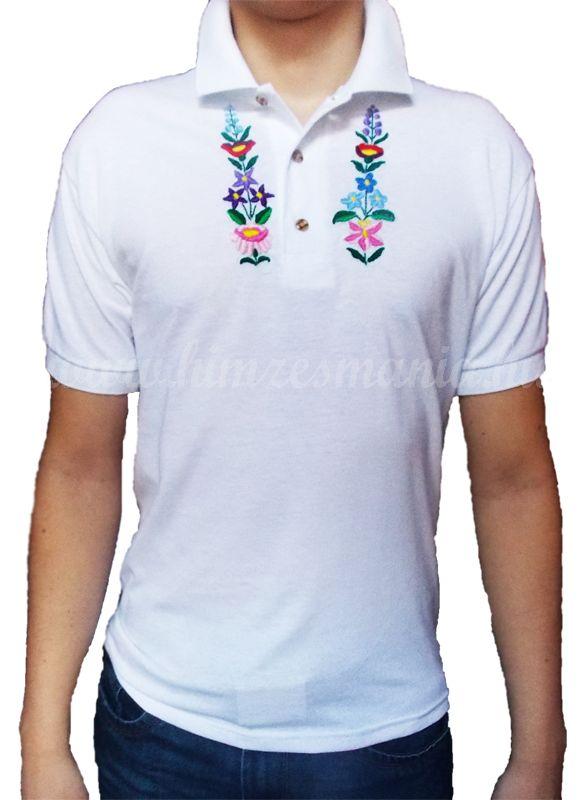 03300bc330 Hímzésmánia - kalocsai mintás hímzett galléros póló - hímzés színe  választható (L)