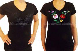 Hímzésmánia - hímezhető kalocsai mintás V nyakú póló - fekete