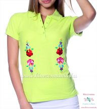 Women polo shirt - hungarian folk  machine embriodery - Kalocsai design - apple
