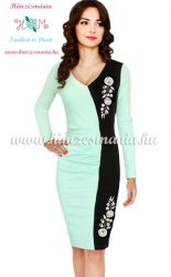 Elegant dress long sleeve - hungarian folk machine-embroidery - Kalocsai style - lightblue