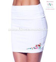 Skirt - hungarian folk - machnine embroidery - Kalocsai motif - white
