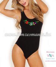 Female body - sleeveless - hungarian folk embroidery - Kalocsa style - black