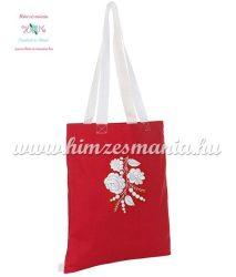 Divatos bevásárló táska - kalocsai fehér minta - kézi hímzés - piros