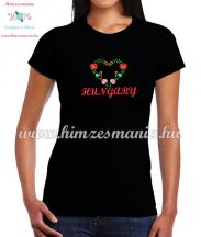 Short Sleeve T-Shirt Women - HUNGARY inscription - machine embroidered - Matyo heart - black