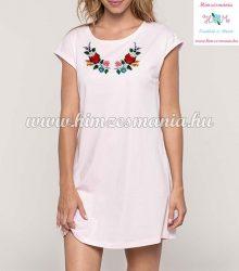 Ladies' long T-shirt - hunkarian folk embroidery - Kalocsai pattern - pale pink
