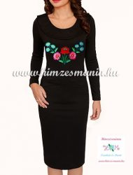 Women dress - folk hand embroidery - Kalocsa style - black