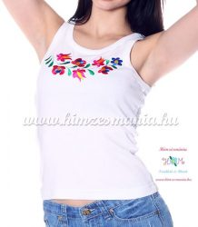 Top - machine embroidery - Hungarian Matyo style - white - Embroidery Mania