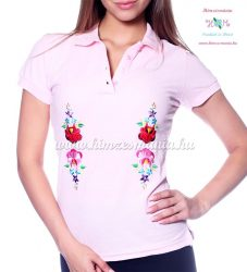 Women polo shirt - hungarian folk  machine embriodery - Kalocsai design - pink