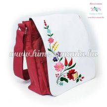 Bag - hungarian folk embroidery - Kalocsa pattern - red - 27x27x8 cm