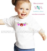 White T-shirt girls - hungarian machine embroidery -  Kalocsa style