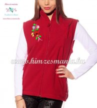 Fleece vest - folk embroidery from Hungary - Kalocsa motif - red
