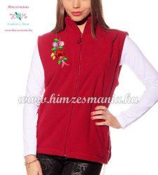 Fleece vest - folk embroidery from Hungary - Kalocsa motif - red