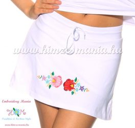 Skirt-short - hungarian folk embroidery - Kalocsa style - white - Embroidery Mania