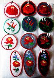 Kalocsai felvarrók ruhára - többféle színben és többféle mintával